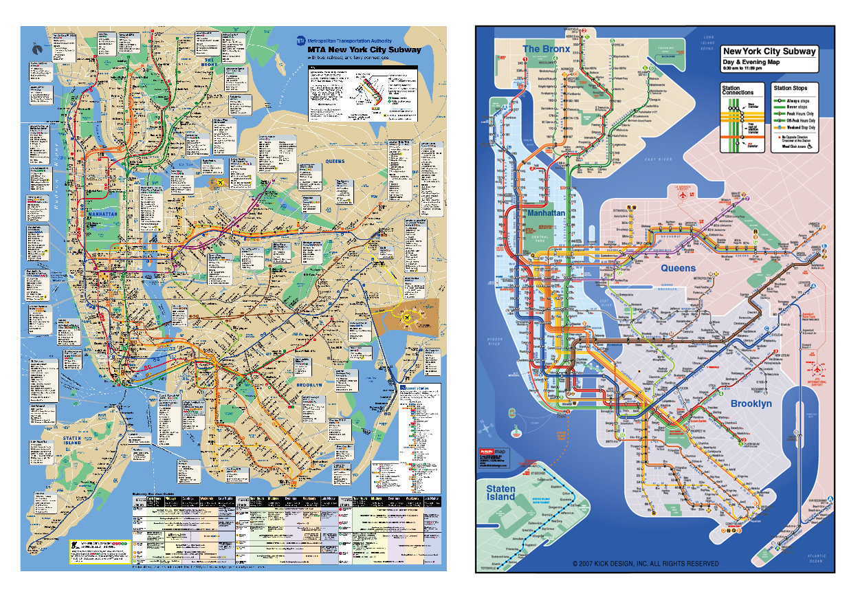 a comparison between the kick map and the official new york city subway map